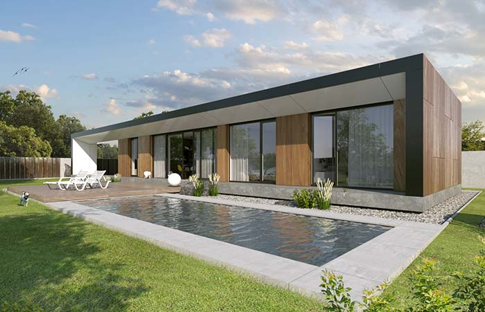 Casa pré-moldada de alvenaria com jeito e formato de container