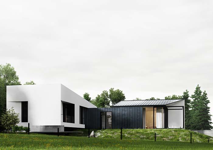 Modelo de casa pré-moldada em L