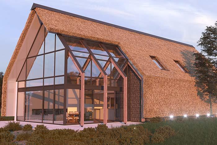 Casa pré-moldada com conceito de sustentabilidade