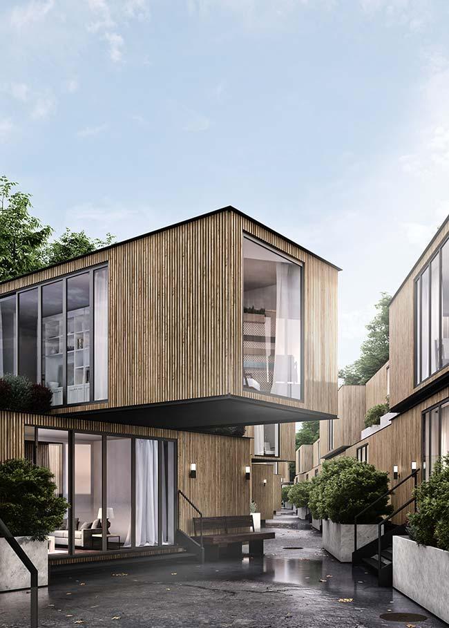 Um reduto de casas pré-moldadas e todas iguais