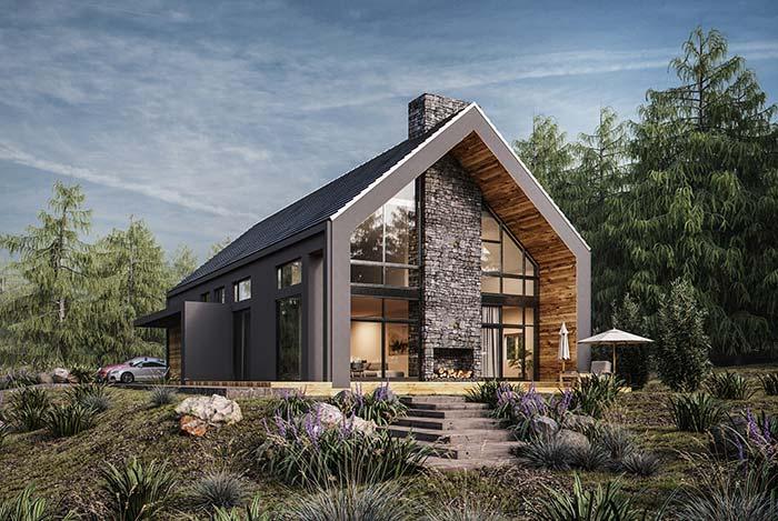 Pedra, madeira e concreto: três materiais diferentes unidos em um mesmo projeto