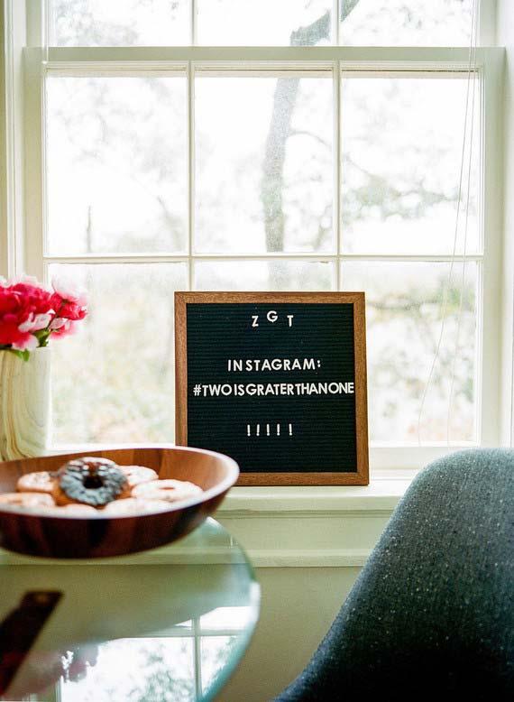 Hashtag do casal no casamento simples
