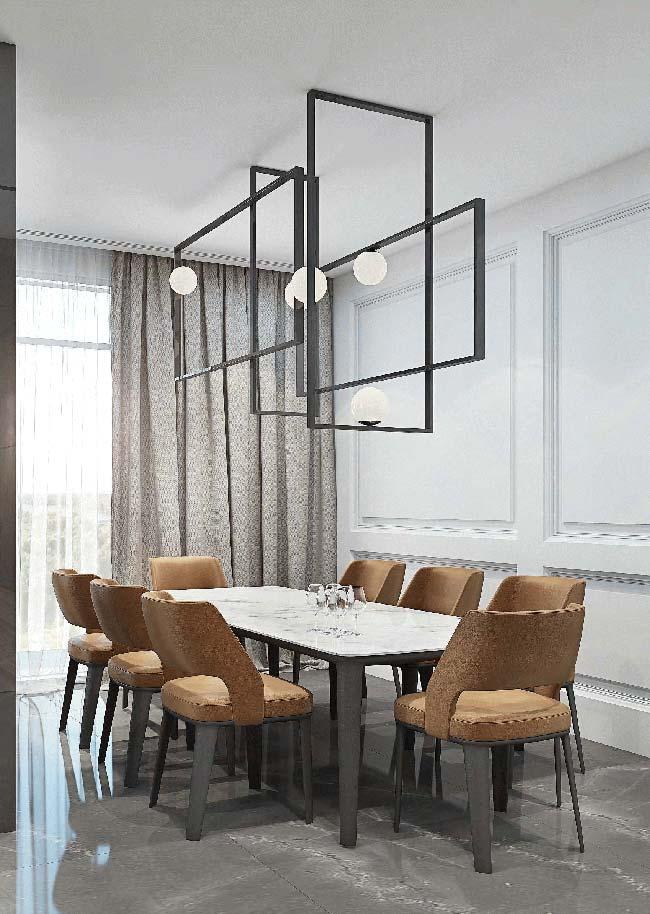 Sala de jantar com luminária de efeito
