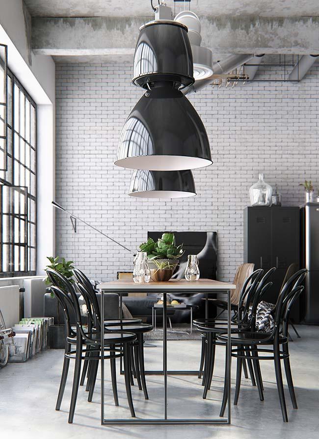Decoração industrial apostou na cor preta para o conjunto de mesa e cadeiras