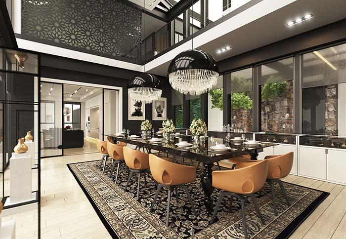 Salas de jantar: a mistura de estilos na luminária já evidencia o que está por vir no restante da decoração