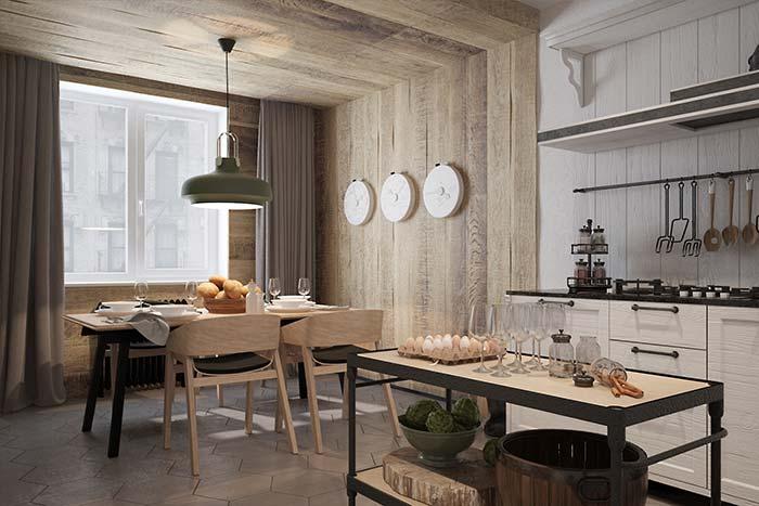 Salas de jantar: o rústico e o moderno se unem para compor a decoração dessa sala de jantar integrada a cozinha