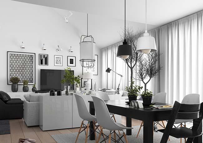 Sala de jantar preta e branca: não tem como errar