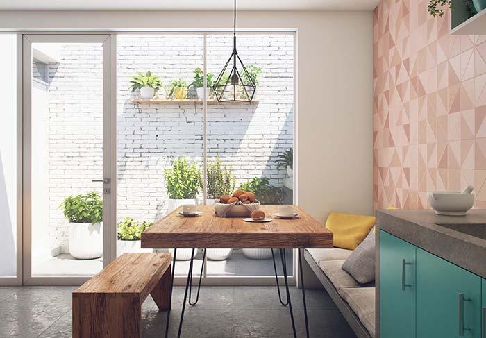 Salas de jantar com mesa e banco de madeira rústico