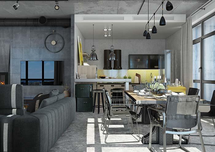 Inspiração para uma sala de jantar estilo industrial
