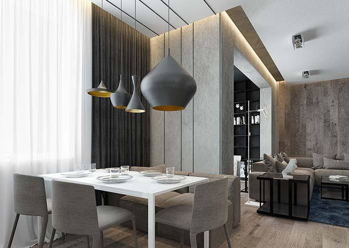 Uma dica para criar unidade entre os ambientes: use a mesma cor e tecido do estofado para as cadeiras e o sofá da sala de estar