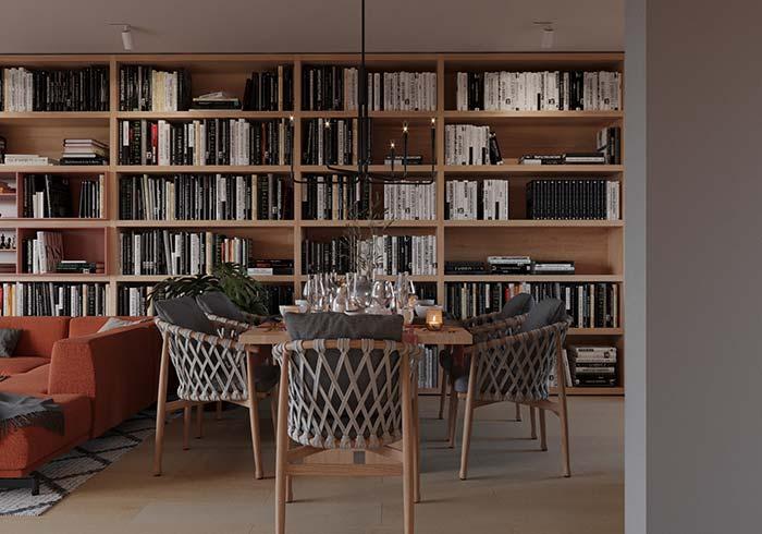 E que tal usar livros para compor a decoração da salas de jantar