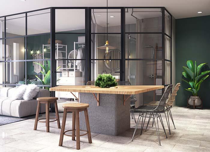 Uma sala de estar que segue o desenho natural do ambiente