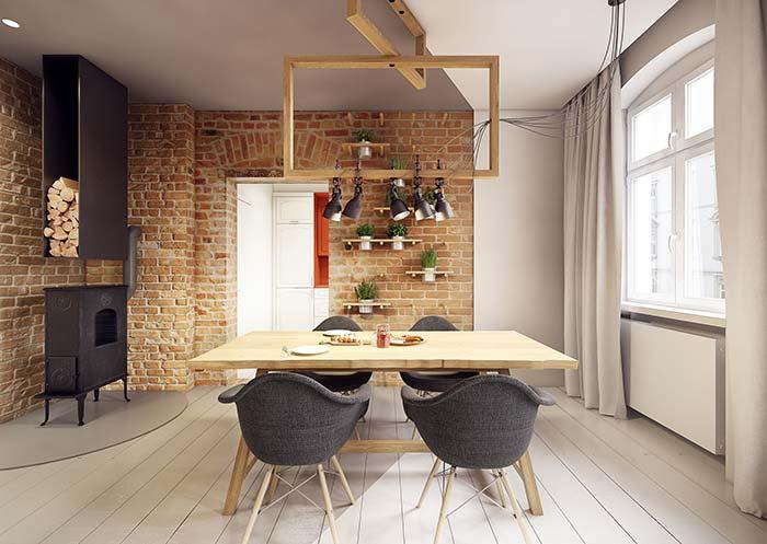 Sala de jantar rústica pra lá de confortável