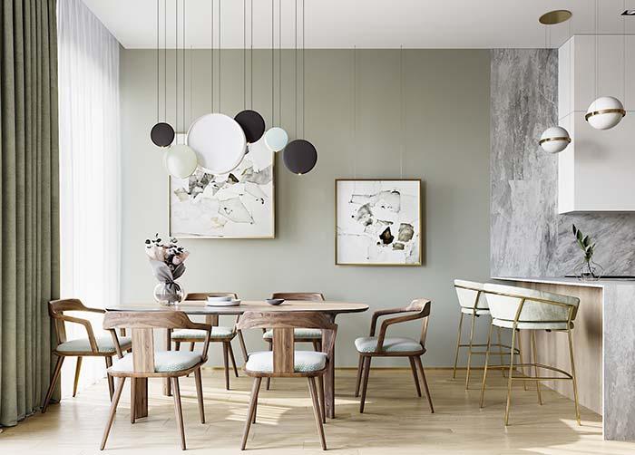 Salas de jantar: cadeiras de madeira para a mesa e de metal para a bancada