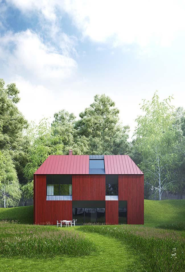 Casa barata, pequena e colorida