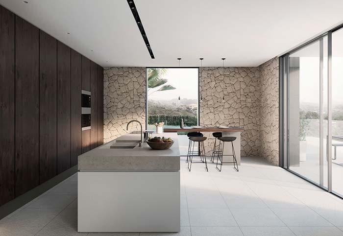 Cozinha minimalista com pedras decorativas