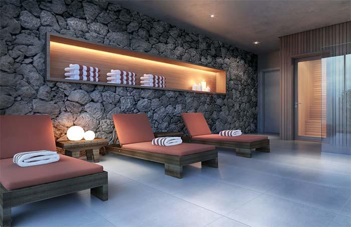 Relaxe entre as pedras decorativas