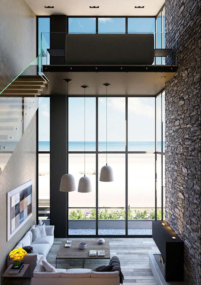 Casa de praia com parede de pedras