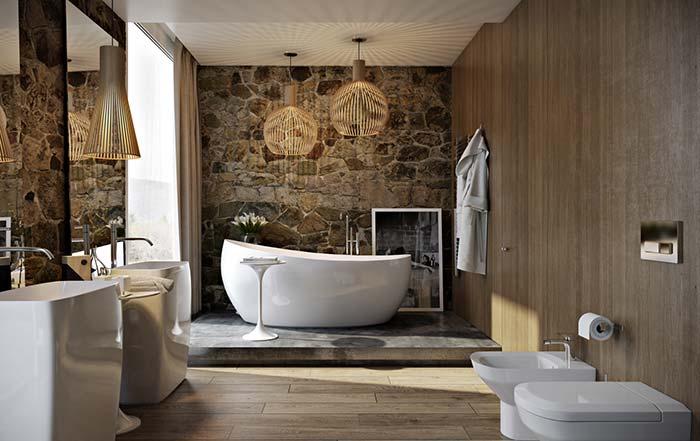 Do rústico ao sofisticado: você teria um banheiro desses