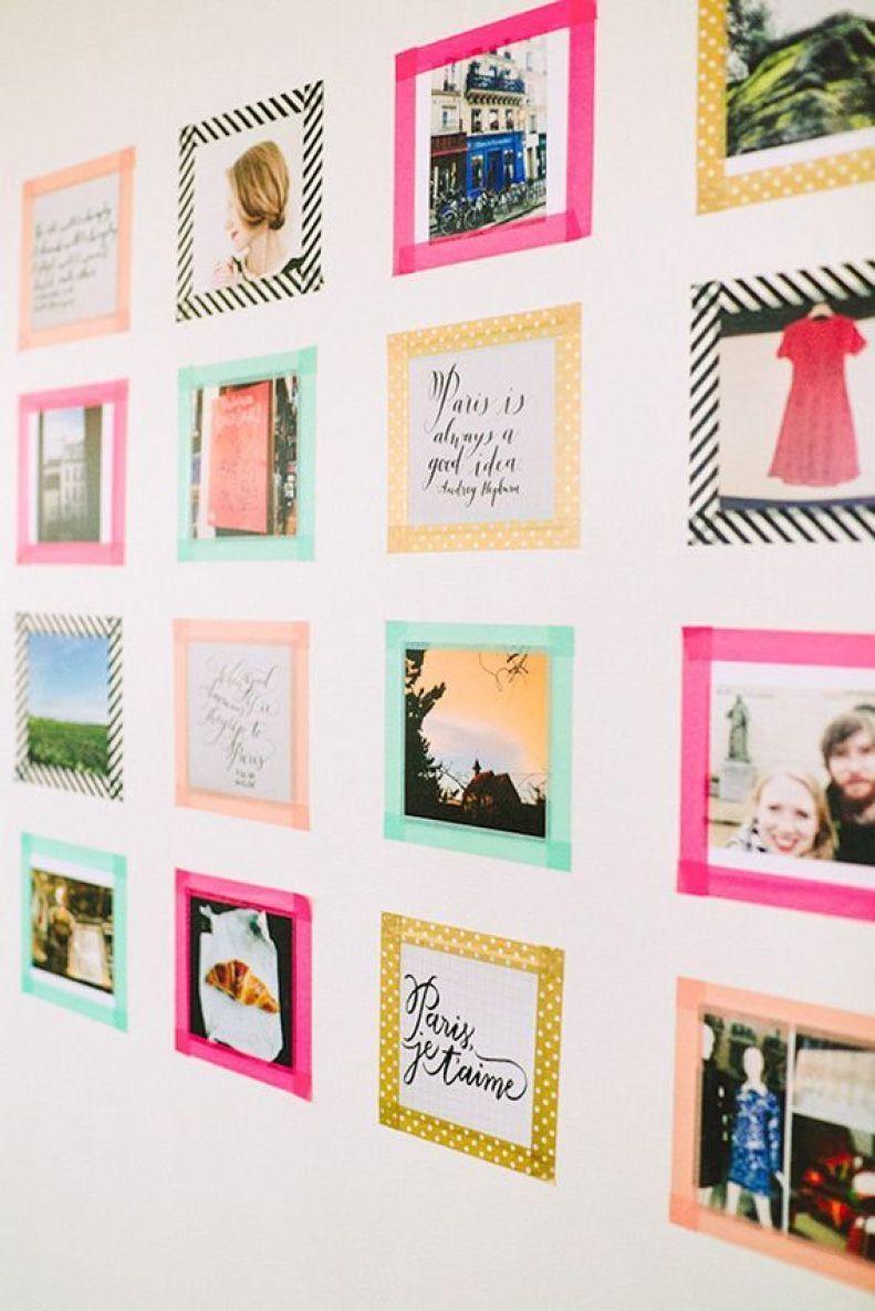 Use fitas isolantes de várias cores e estampas para criar molduras para as fotos; olha o efeito que dá