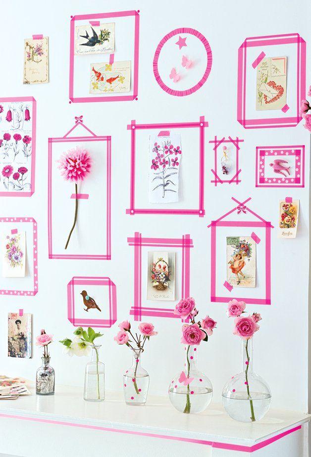 Para os mais românticos: molduras com fita isolante cor de rosa