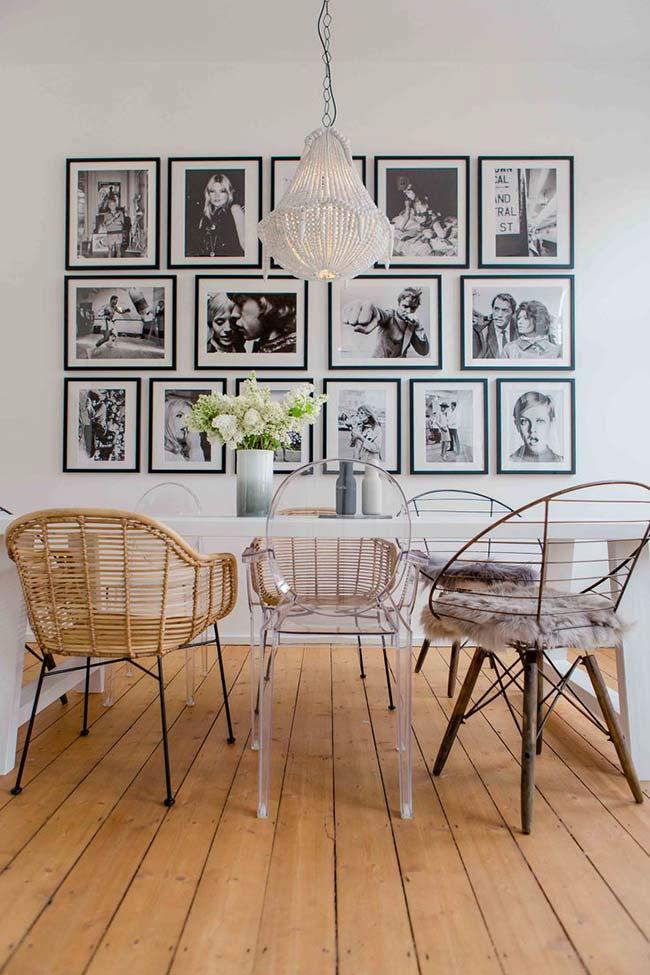 Decoração com fita isolante: para combinar com as fotografias em preto e branco