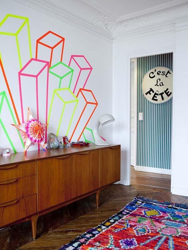Decoração com fita isolante: solte a criatividade e se permita criar formas diferenciadas nas paredes