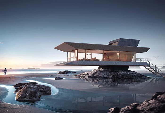Construção surpreendente à beira mar