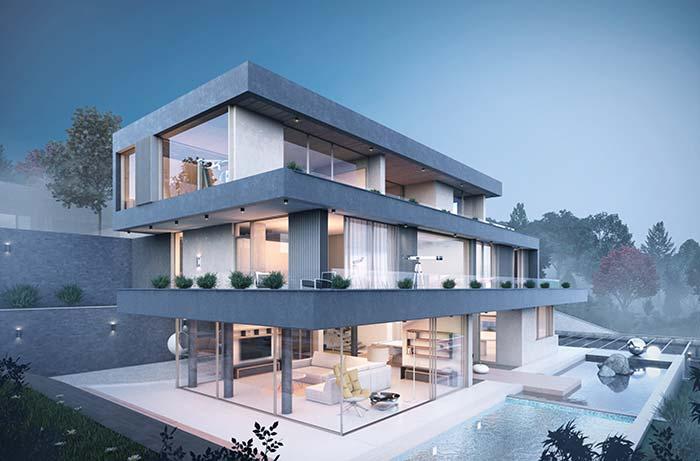 Casa com ambientes integrados divididos em três pavimentos