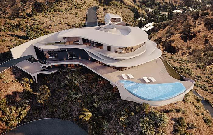 Casa futurista cravada nas montanhas