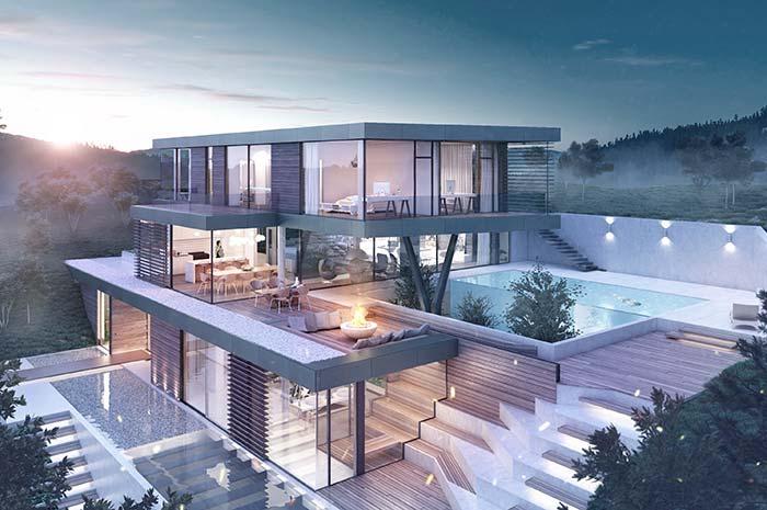 Casa perfeita de três pavimentos com uma vista deslumbrante