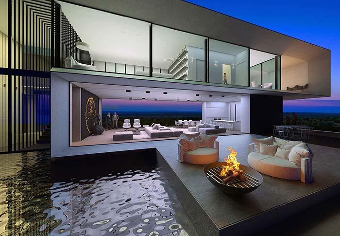 Agora se você deseja algo mais sóbrio, mas sem perder a sofisticação, pode se inspirar nessa casa