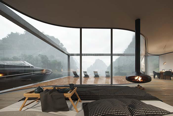 Casa perfeita: estrutura curvada da casa deixa o quarto com um visual elegante e diferenciado