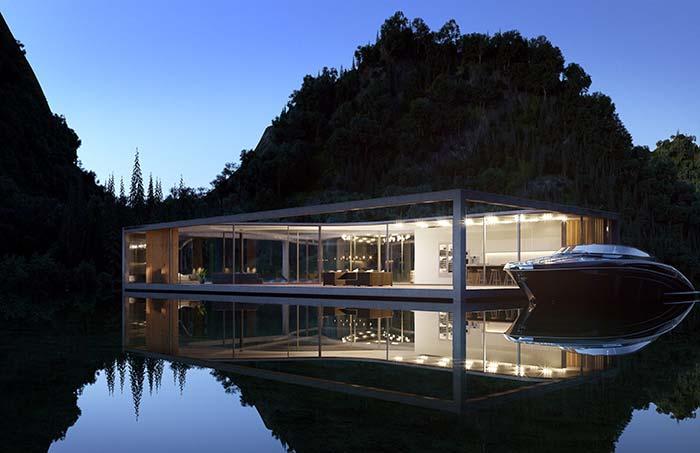 Casa perfeita que flutua sobre o lago