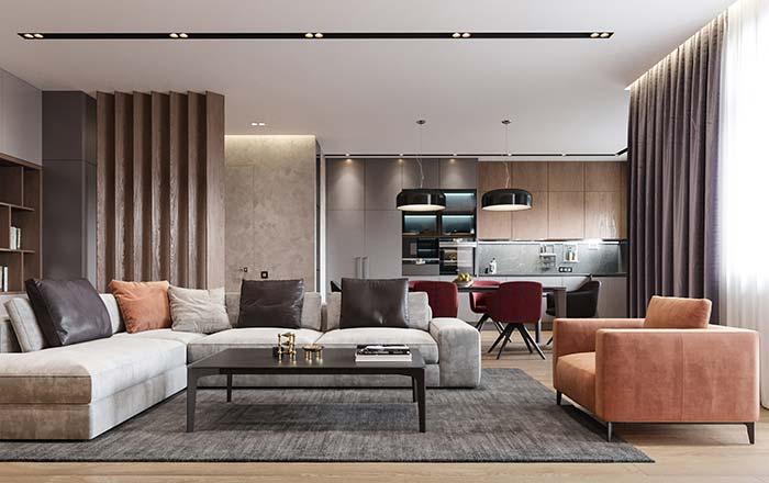 Uma composição de detalhes: repare na presença da almofada da mesma cor do sofá