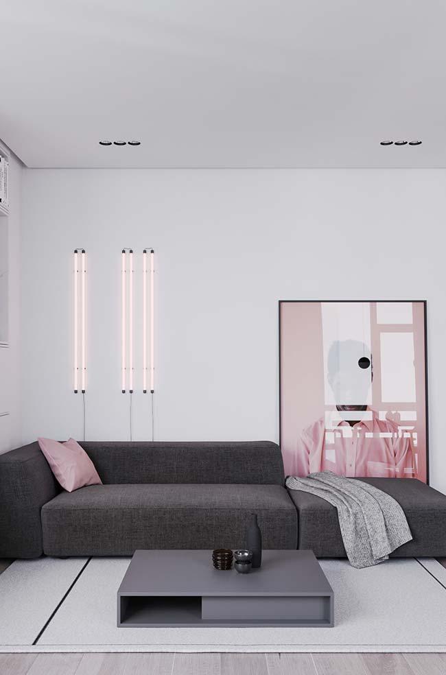 A combinação entre rosa e cinza é moderna sem deixar de ser delicada