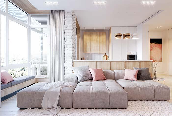 Cores para sala: agora se a proposta é algo mais acolhedor, a combinação entre rosa e os tons amadeirados é ideal