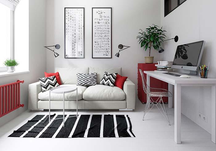 Para não ter erro na decor: vá de preto e branco na base e use o vermelho em pequenos objetos