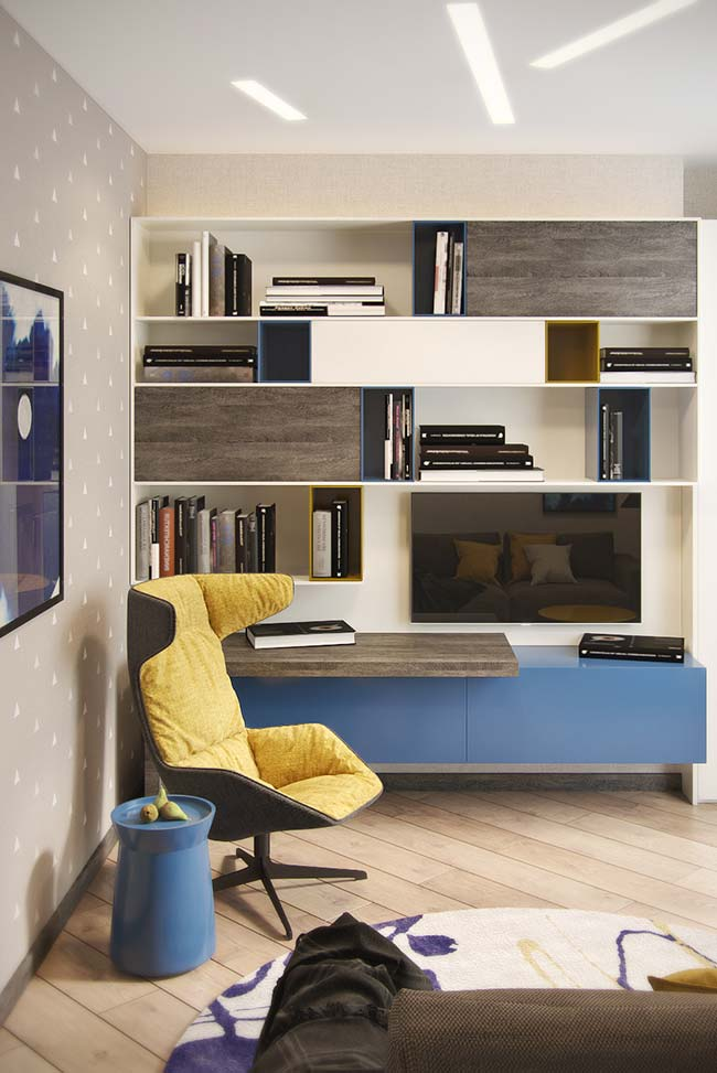 Cores para sala: azul e amarelo nos detalhes