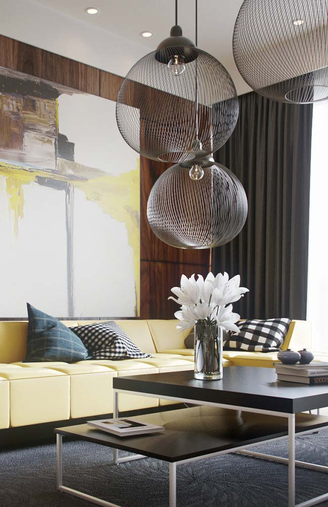 Cores para sala: para uma decoração forte e marcante, aposte na dupla amarelo e preto