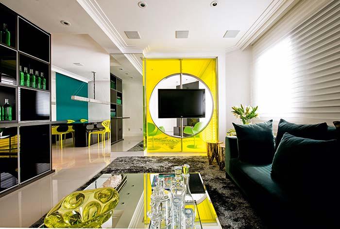 Cores para sala: ousada e cheia de estilo