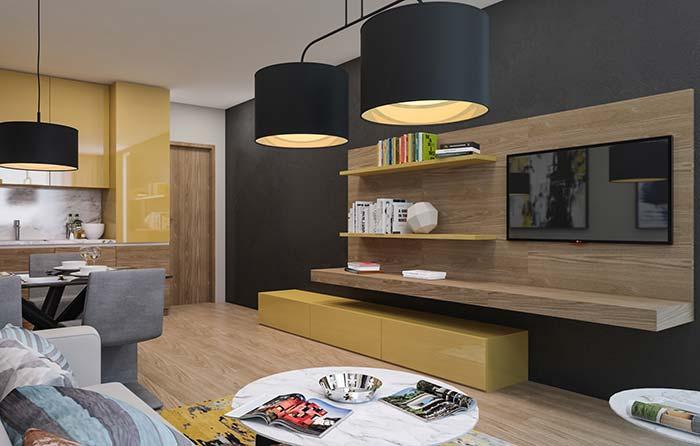 Cores para sala: amarelo fechado faz uma combinação perfeita com o amadeirado dos móveis