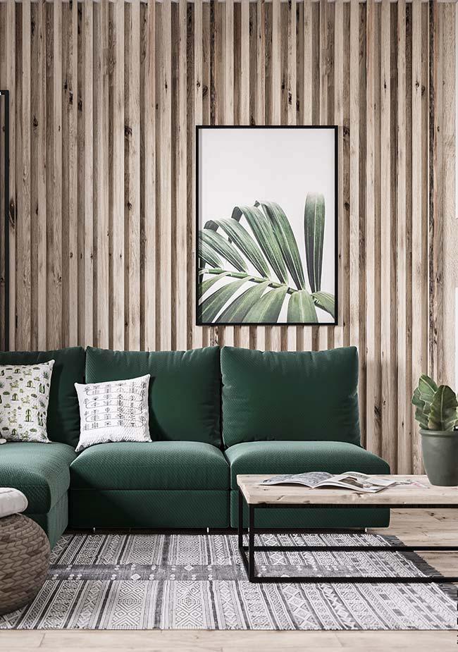 Cores para sala: verde, cor da natureza, faz uma combinação perfeita com os tons amadeirados