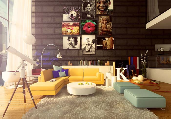 Colorido despretensioso marca essa sala de estar com pé direito alto e iluminação abundante