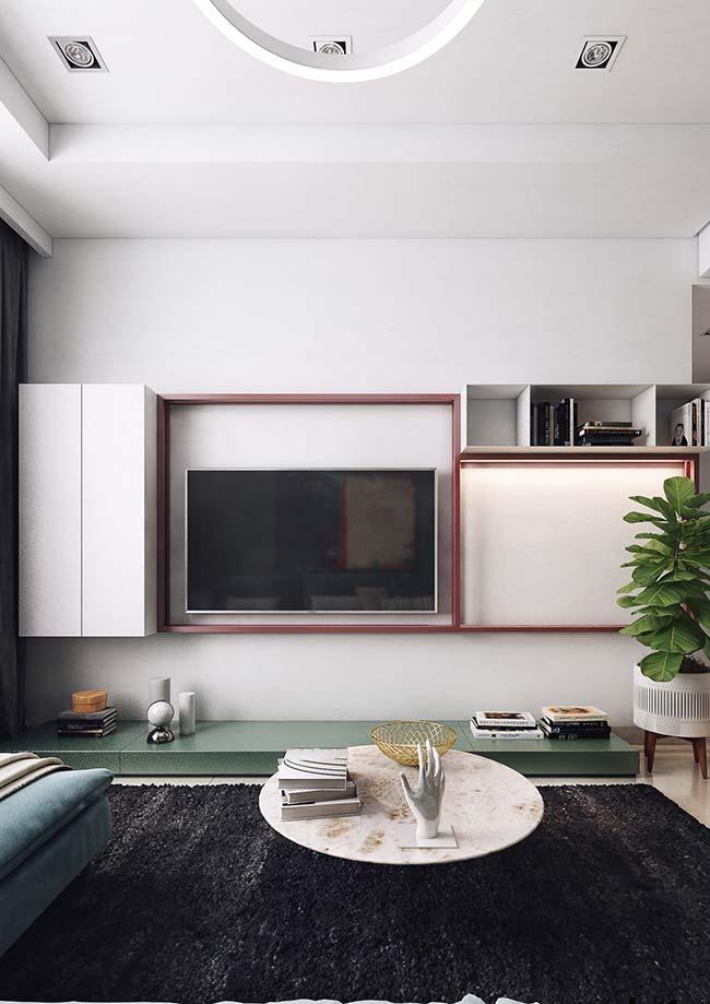 Cores para sala: verde da planta entra na decor da sala e se une aos outros tons