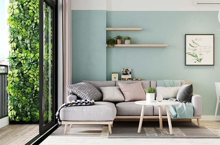 Cores para sala: no limite entre o azul e o verde