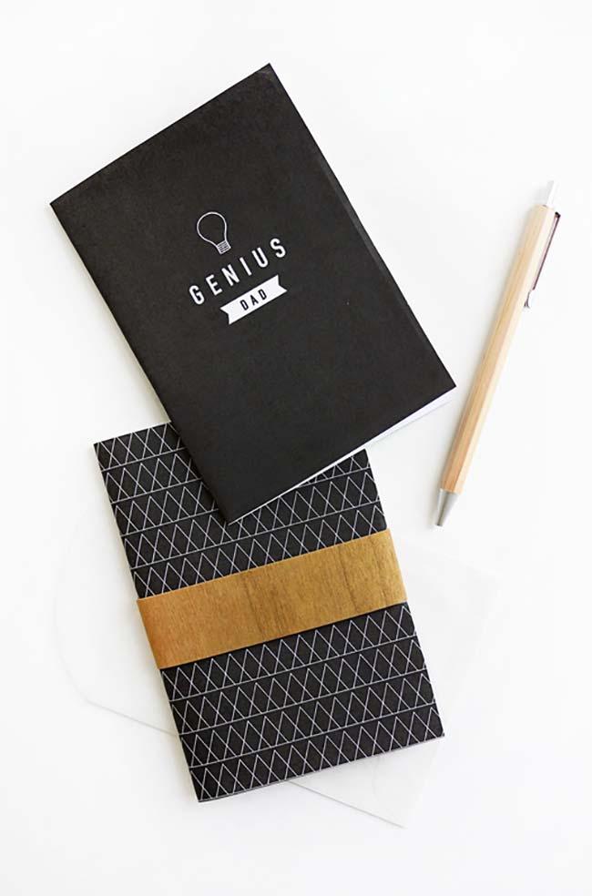 Caderno de anotações e caneta como lembrancinha Dia dos Pais