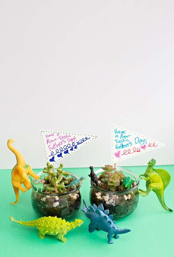 Lembrancinha Dia dos Pais: suculentas, dinossauros e uma mensagem divertida para o paizão