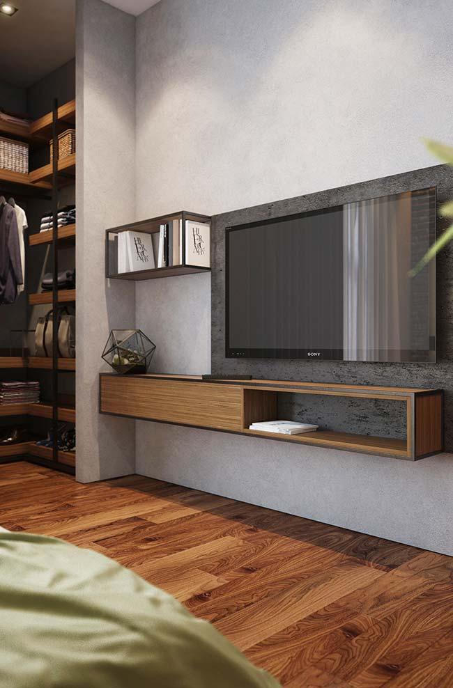 Um nicho para quarto que mais parece um rack suspenso