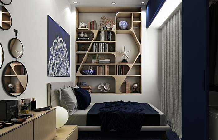 Quarto moderno com nichos de madeira em formatos diferenciados